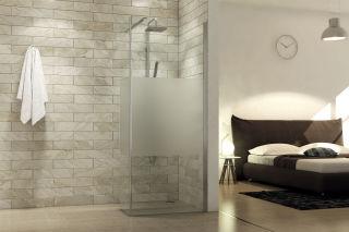 LUISINA - Lyora+45 - Paroi de douche fixe sablée Lyora 700 mm et volet fixe 450 mm