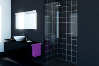LUISINA - Easy Black - Paroi de douche fixe Easy Black 700 mm