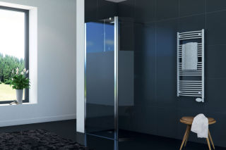 LUISINA - Easyflex+30 - Paroi de douche fixe sablée Easyflex 900 mm et volet flexible 300 mm