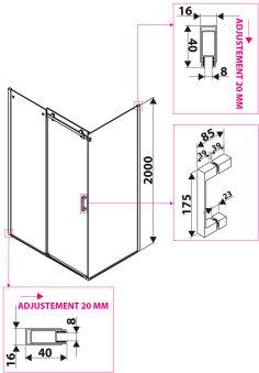 LUISINA - Cosy - Accès d'angle porte coulissante + paroi fixe Cosy 1400 x 800 mm