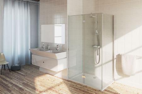 LUISINA - Cosy - Porte de douche pivotante + paroi fixe pour solution d'angle Cosy 900 mm