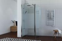 LUISINA - Easyflex+45 - Paroi de douche fixe sablée Easyflex 900 mm et volet flexible 450 mm