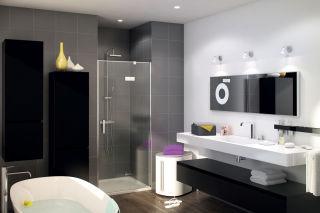 LUISINA - Hokki - Porte de douche pivotante Hokki 800 mm + panneau fixe