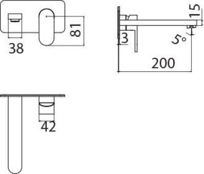 LUISINA - Luppa - Mitigeur mécanique douche mural Luppa noir