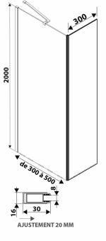 LUISINA - Easy+45 - Paroi de douche fixe Easy 600 mm et volet fixe 450 mm