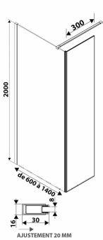 LUISINA - Easy+30 - Paroi de douche fixe Easy 700 mm et volet fixe 300 mm