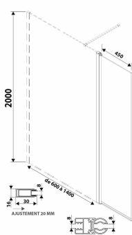 LUISINA - Easyflex+45 - Paroi de douche fixe Easy 600 mm et volet flexible 450 mm