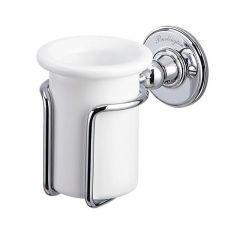 LUISINA - Rétro - Porte-brosse à dents à fixer coloris Chromé et Blanc Brillant